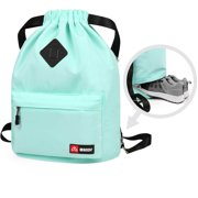 Drawstring Backpack String Sackpack Cinch Water Resistant Nylon Bag With Shoe Pocket Airy Blue