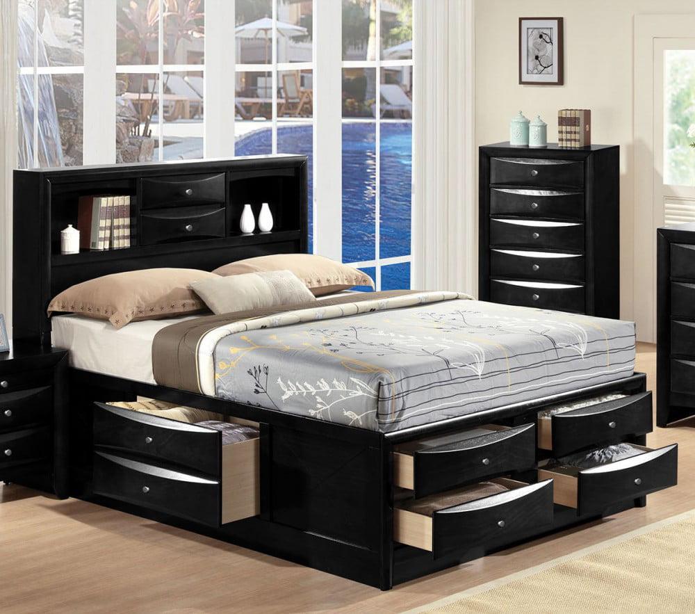 Simple Relax Ireland Black Espresso Queen Bed With Multi