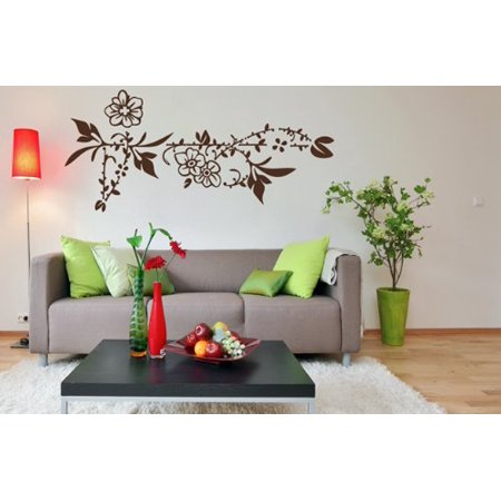 Flower Border Wall Decal Wall Sticker Vinyl Wall Art Home Decor Wall Mural 2594 Copper 35in X 17in