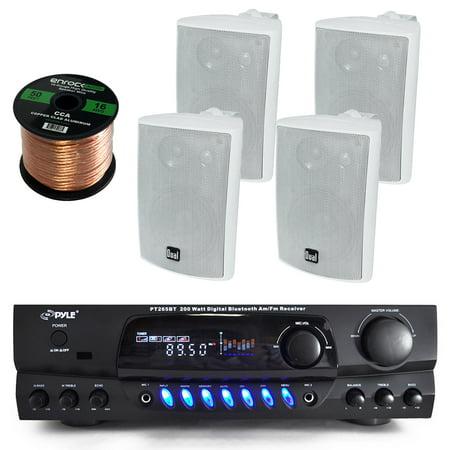 200 Watt Floor Standing Speaker - Pyle PT265BT Bluetooth 200 Watt Digital Karakoe Receiver Amplifier Bundle Combo With 4x Dual LU43PW 100-Watt 3-Way White Indoor/Outdoor Speakers + Enrock 50 Foot 16g Speaker Wire