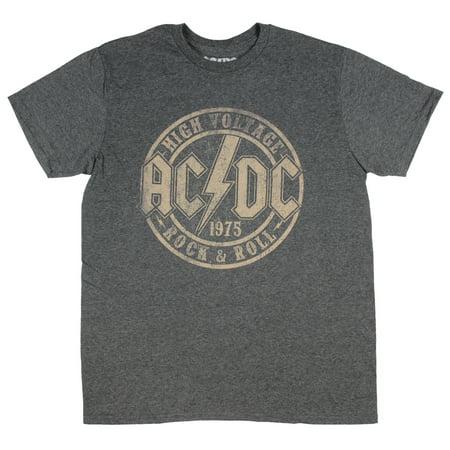 High Voltage Short (AC/DC T-Shirt High Voltage 1975 Rock & Roll Band Mens' Heather Grey)