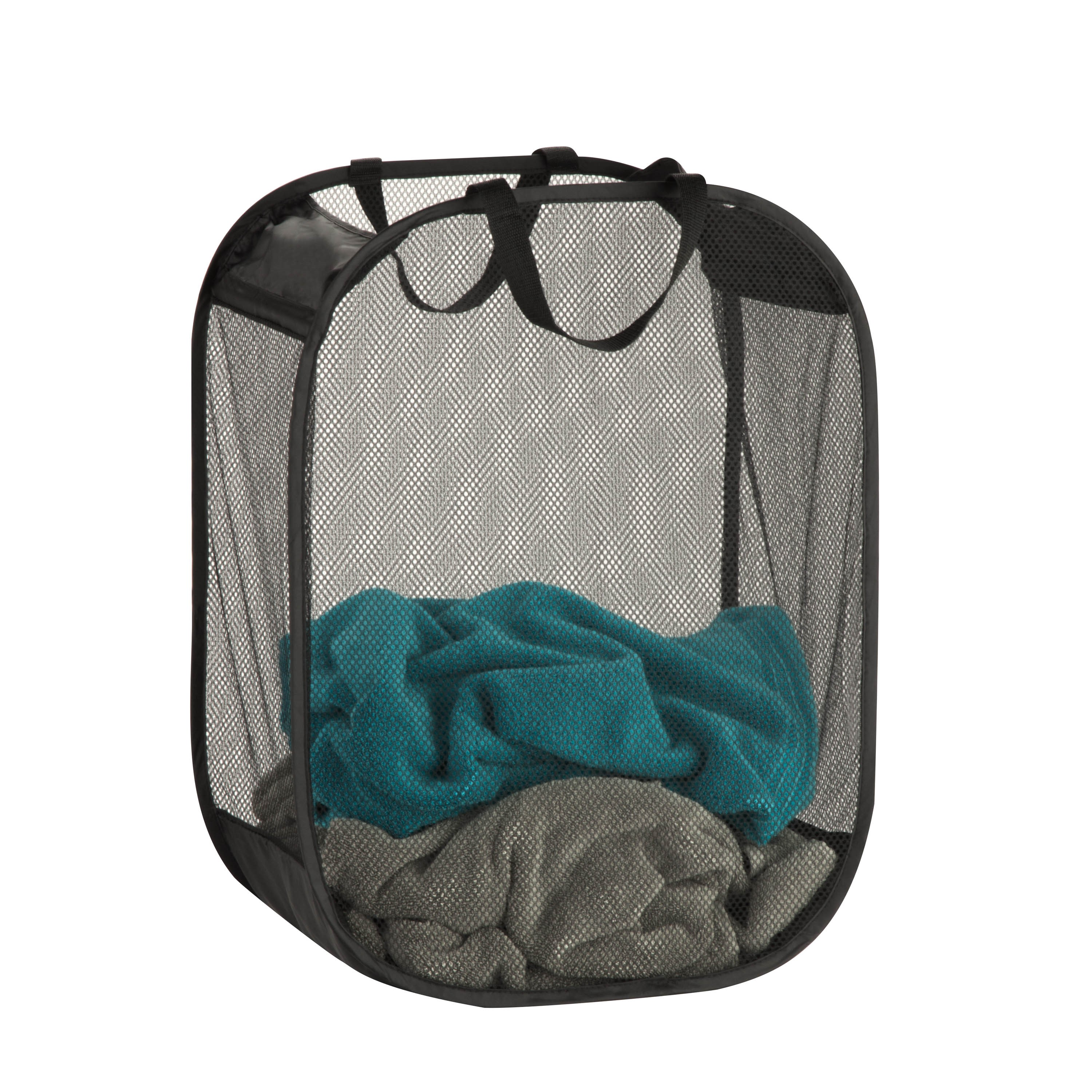 Honey Can Do Pop-Up Mesh Laundry Basket with Handles, Black