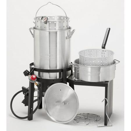 GHP Silver Lightweight Outdoor Kitchen Gourmet Deluxe Turkey Fryer Deep Fry Pot (Turkey Fry Kit)