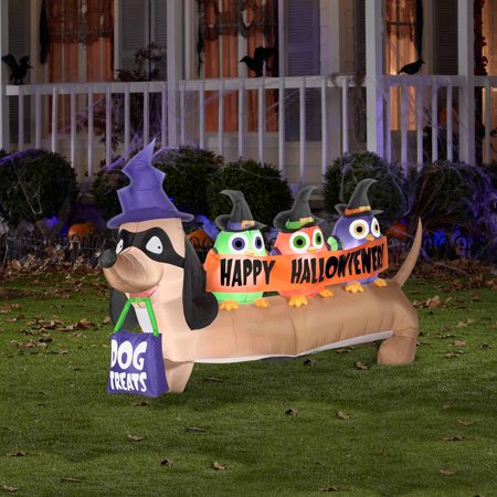 4 39 airblown inflatables halloweiner dog halloween for Air blown decoration