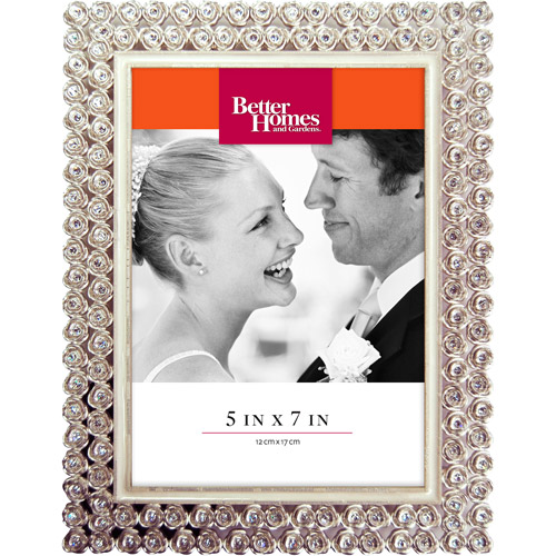 Better Homes and Gardens 5x7 Rose Jeweled Picture Frame, Silver