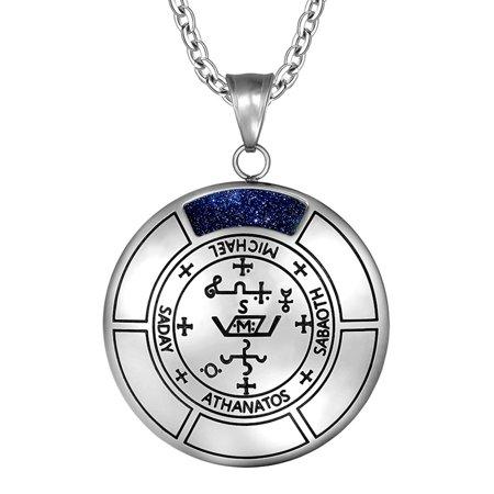 Sigil of Archangel Michael Magic Medallion Angel Amulet Blue Goldstone Pendant 22 inch Necklace Michael Religious Medallion