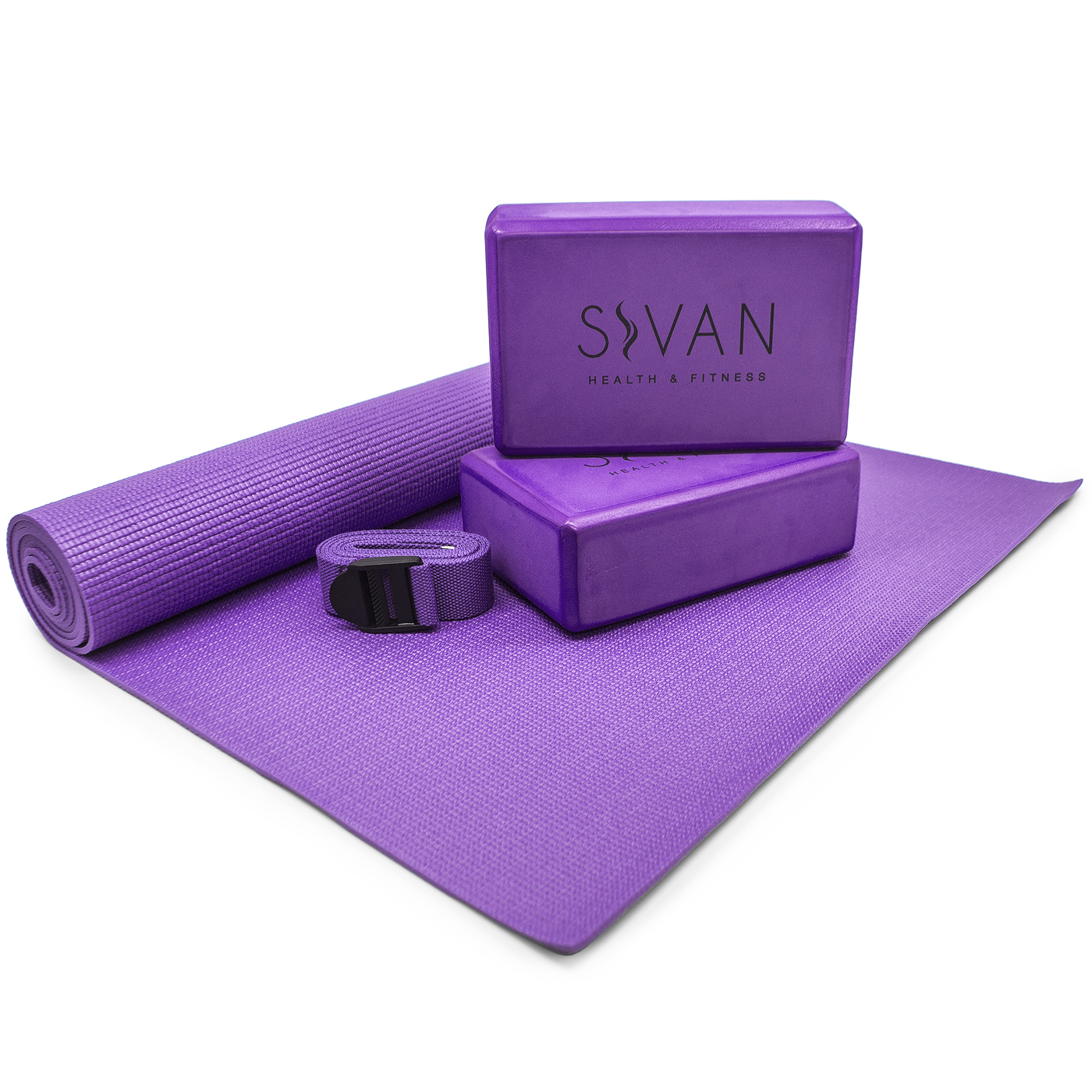 Sivan Health & Fitness Prepacked 5-Piece Yoga Kit, Purple