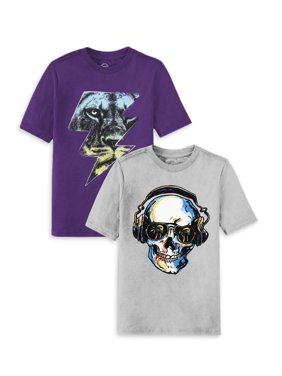 Wonder Nation Boys Figure Graphic Short Sleeve T-Shirt 2 Pack Sizes 4-18 & Husky