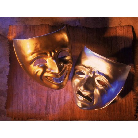 Two Theatre Masks (Comedy and Tragedy) Print Wall Art By Ellen Kamp](Tragedy And Comedy Masks)