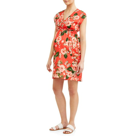 Oh! MammaMaternity floral with tie wrap dress - available in plus sizes
