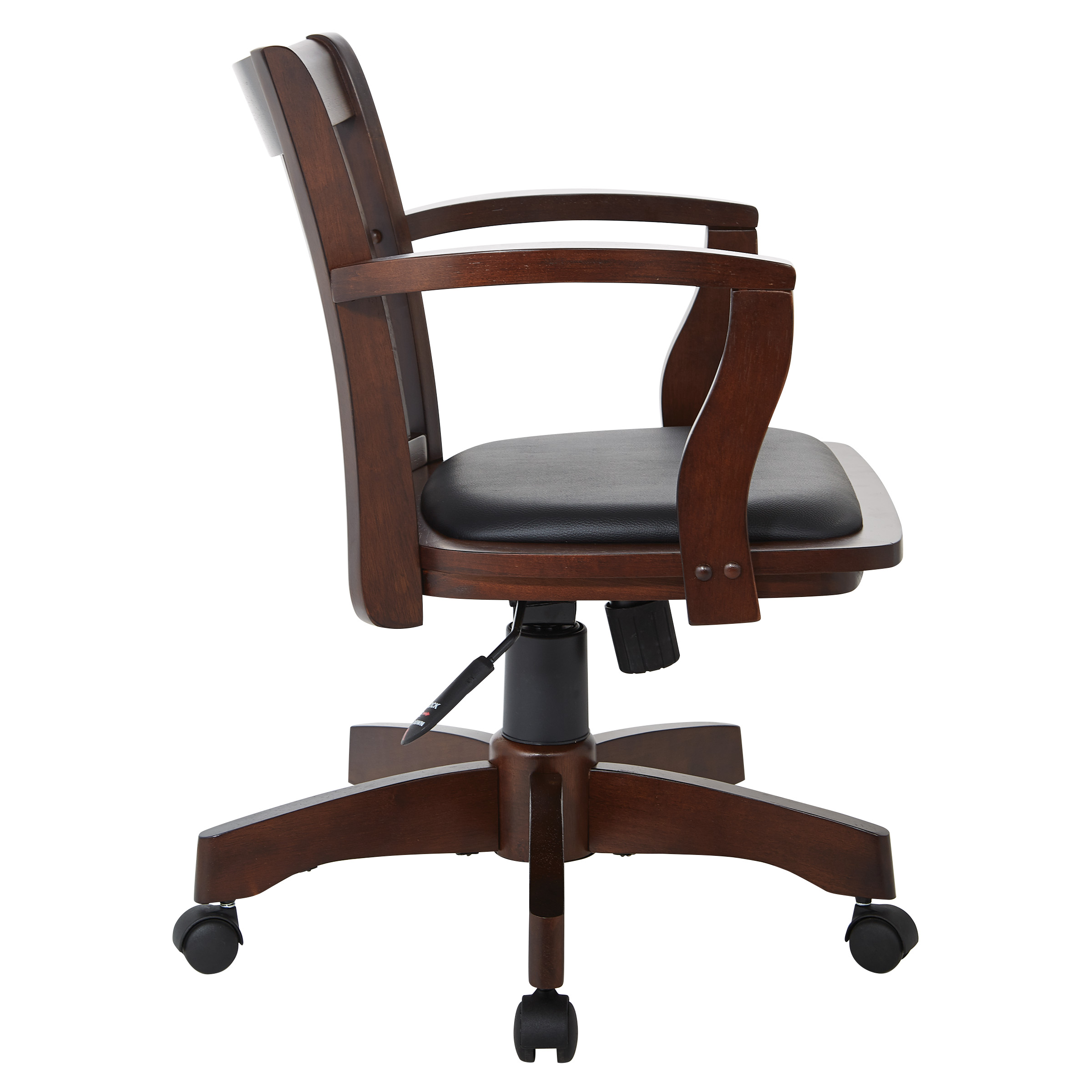 Deluxe Wood Bankers Chair With Vinyl Padded Seat Espresso And Black Vinyl Fabric Walmart Com Walmart Com