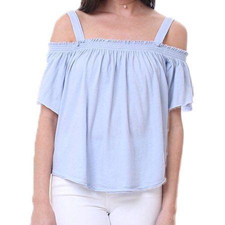 WE THE FREE Womens Light Blue Ruched Short Sleeve Off Shoulder Top  Size: L - Light Blue Toms