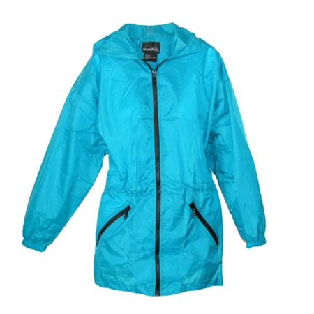 ... Womens Packable Fashion Teal Color Anorak Rain Jacket, Teal - Walmart