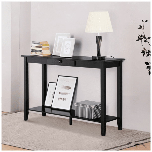 Yaheetech 2 Tiers Concepts Wood Console Table with Drawer and