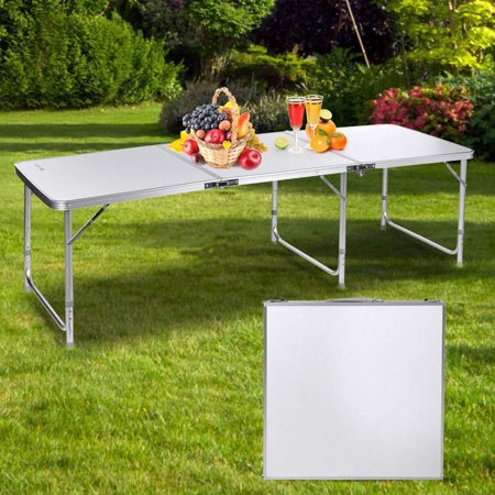 UBesGoo Fold-in-Half Folding Table Portable Aluminium Alloy Indoor Picnic Party Dining Camp Tables - Indoor Camping Party