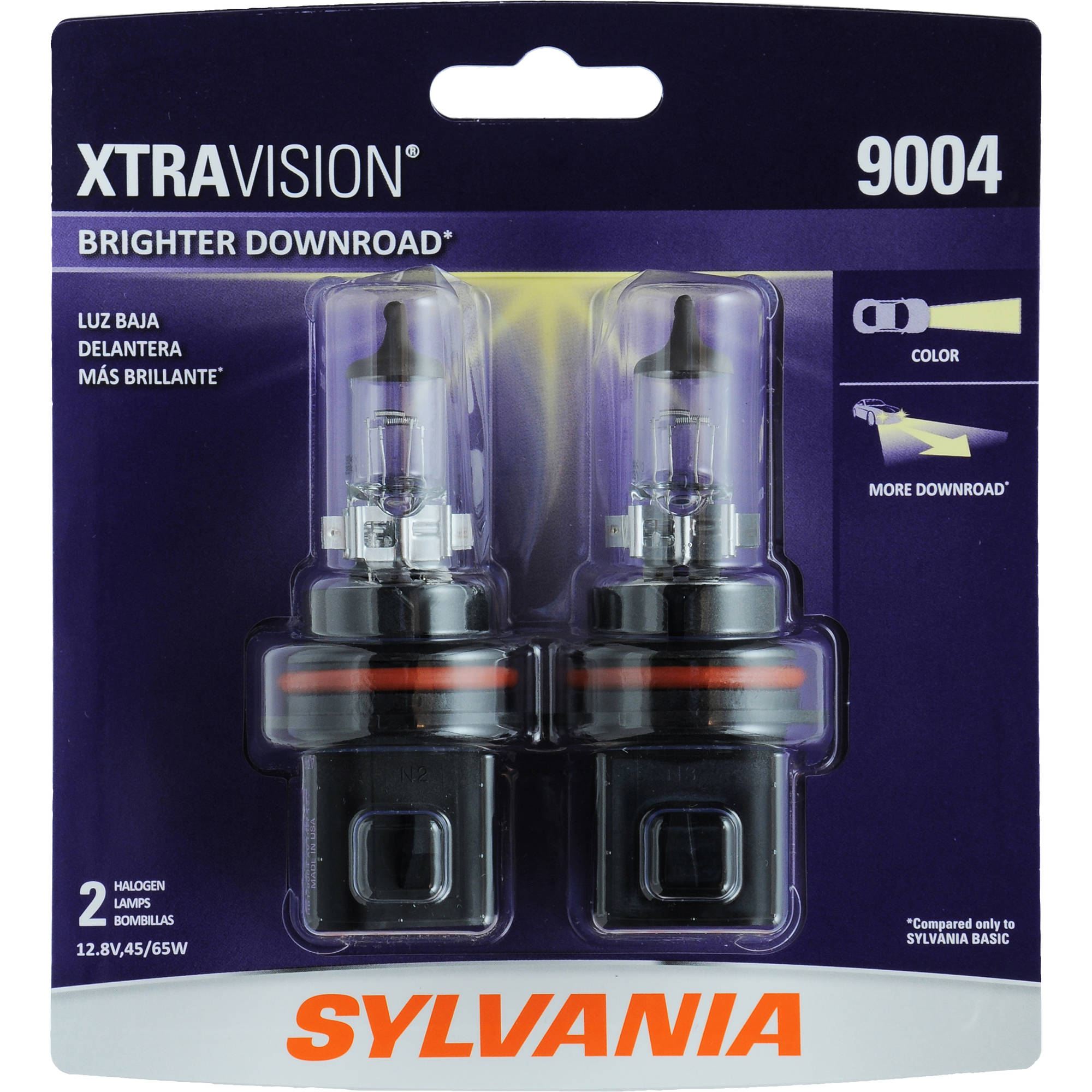 Sylvania 9004 XtraVision Headlight, Twin Pack
