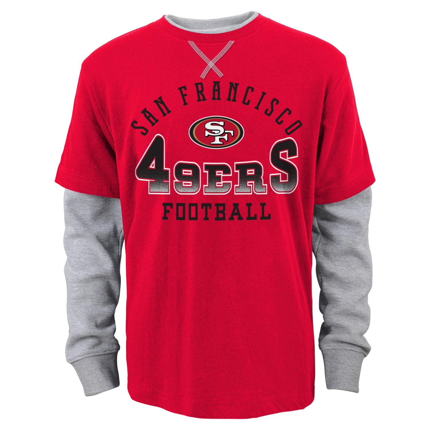 """San Francisco 49ers Youth NFL """"Arched Fade"""" L/S Faux Layer Thermal Shirt"""