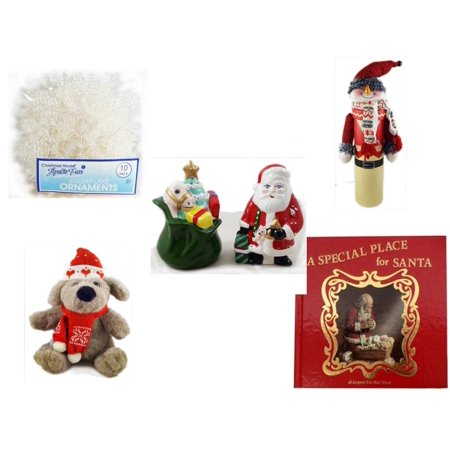 - Christmas Fun Gift Bundle [5 Piece] -  Arctic Fun Snowflake Ornaments 10 Pack - Wine Gift Box Snowman - HomeTrends Santa Salt & Pepper Set - Soft & Cuddly  Dog Sitting  12