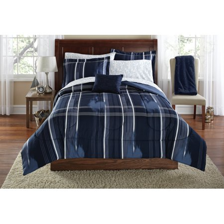 Mainstays Modern Plaid Bed in a Bag Bedding Set, Navy, Queen