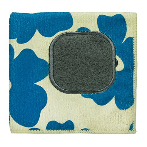 MUkitchen Microfiber Dishcloth With Built-In Scrubber 12 by 12-Inches Blue Poppy