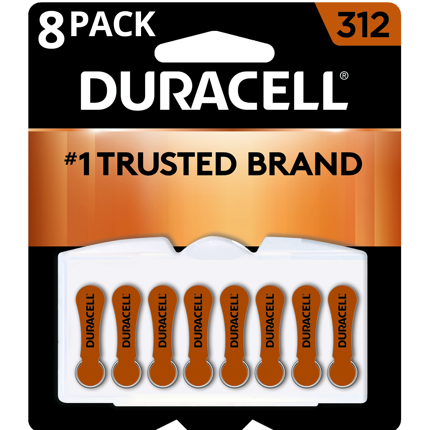 Duracell Hearing Aid Batteries with Easy-Fit Tab, Size 312, 8 Count
