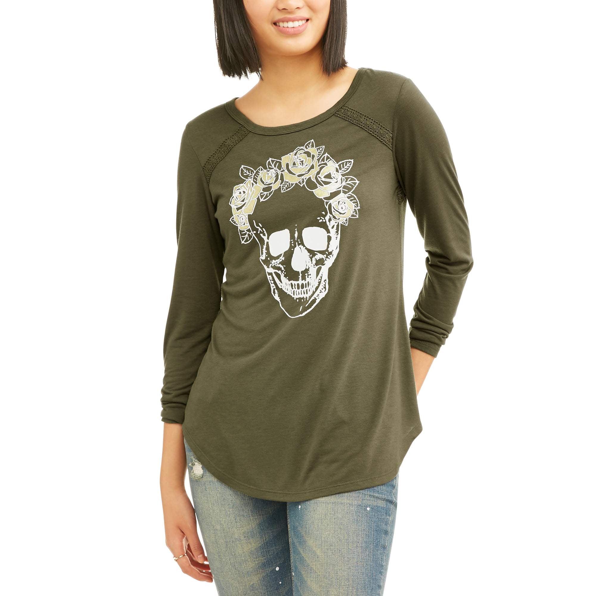 a8c0fa6a Juniors' Cut-Out Back Graphic Long Sleeve T-Shirt – Walmart ...