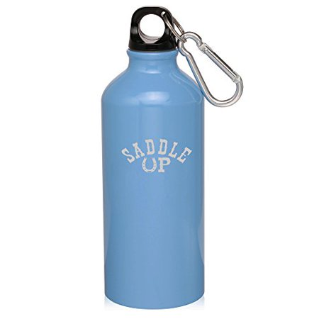 - 20oz Aluminum Sports Water Bottle Caribiner Clip Saddle Up Horseshoe (Light Blue)