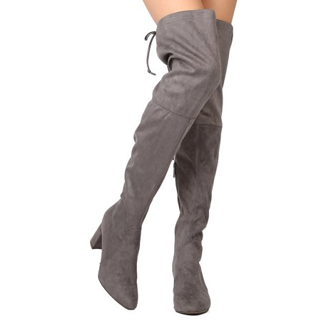 New Women Breckelles Vanesa-36 Faux Suede Thigh High Drawstring Chunky Heel Boot Chunky Heel Thigh High Boots