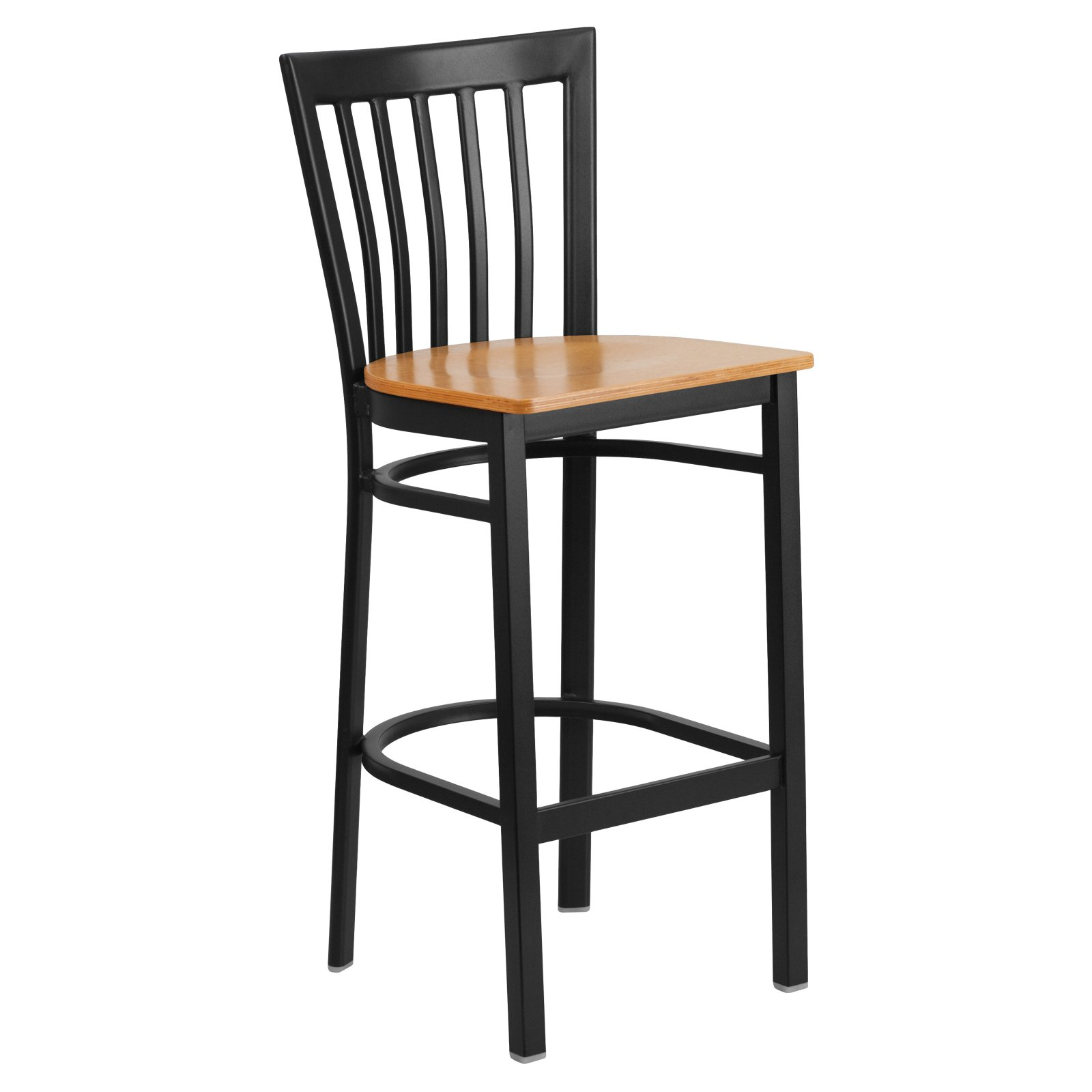 Flash Furniture HERCULES Series Black School House Back Metal Restaurant Barstool, Wood Seat, Multiple Colors