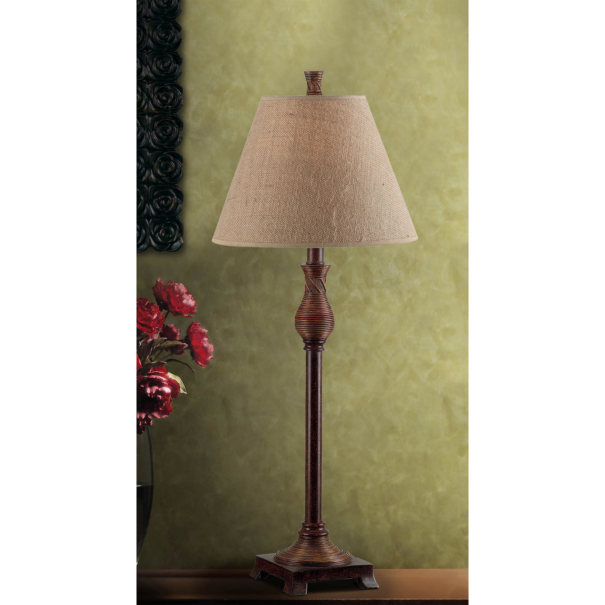 Kenroy Home Santiago Buffet Lamp Set, Natural Reed