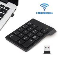 Wireless Number Pad, EEEkit Portable Mini USB 2.4GHz 18-Key Financial Accounting Numeric Keypad Keyboard Extensions for Data Entry for Laptop, PC, Desktop, Surface pro, Notebook-Black