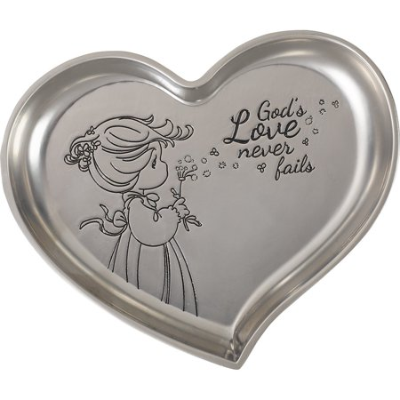 Heart Shaped Cherub - Precious Moments God's Love Never Fails Heart-Shaped Trinket Tray Zinc Alloy 172432
