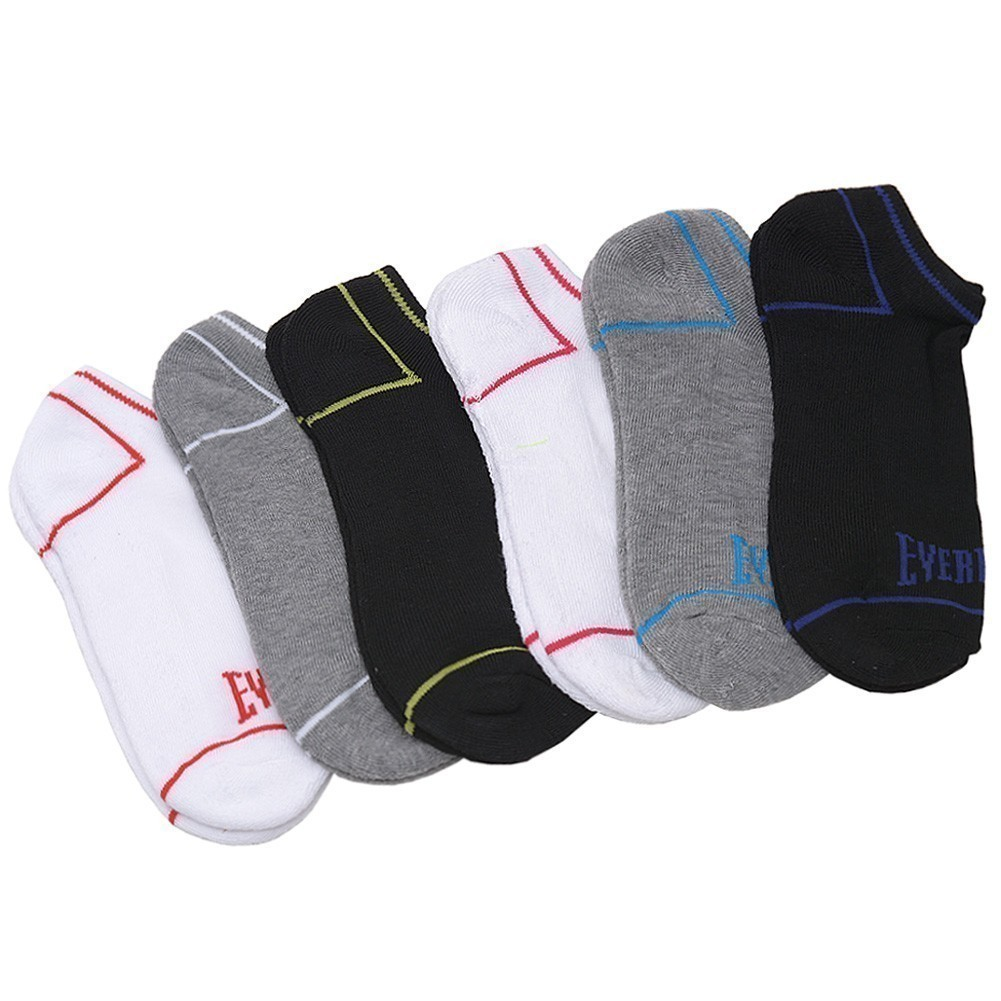 Everlast Girls Multi Color Thin Stripe 6 Pair Pack Low Cut Ankle Socks 9-11