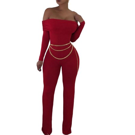 73a5c5363f4 Emmababy - Womens Sexy Off Shoulder Ruched Long Sleeve Bodycon Slim Fit Long  Pants Jumpsuits Rompers Playsuit Clubwear - Walmart.com