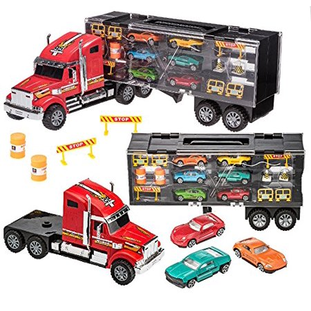 Prextex 24'' Detachable Carrier Truck Toy Car Transporter With Rubber Wheels and 6 Toy Cars Toys For Boys And