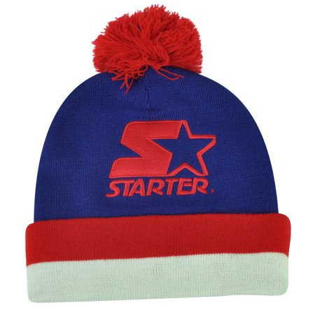 Starter Blank Blue Red Pom Pom Beanie Knit Cuffed Toque Solid Plain Hat Thick ()