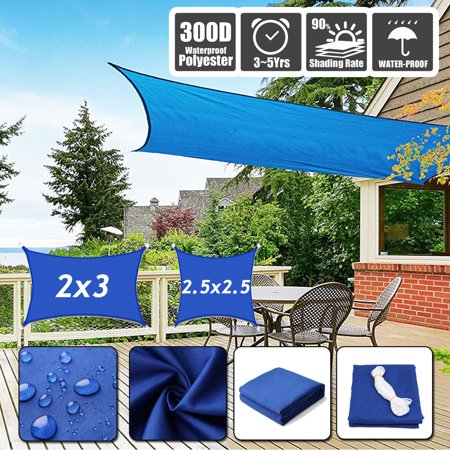 Sun Shade Sails Canopy Rectangle Square  300D Oxford Shade Sail UV Block Yard Garden Shelter for Patio Garden Outdoor Facility and Activities ()