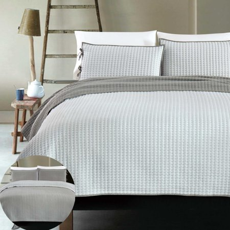 X Cross Stitch 3 Piece Reversible Bedding Coverlet Set