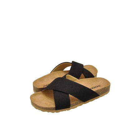 Soda Midge-S Women's Faux Suede Criss Cross Slip On Sandals Double Criss Cross Sandal