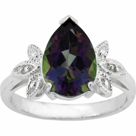 3.74 Carat T.G.W. Mystic Topaz and White Topaz Sterling Silver Leaf Pear-Shape Ring