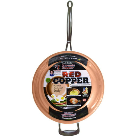 As Seen on TV Red Copper All- Purpose Ceramic Pan, 12 in