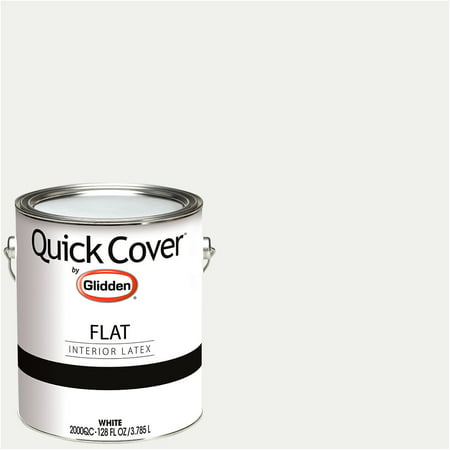 - Glidden Quick Cover, Interior Paint, Flat Finish, White, 1 Gallon