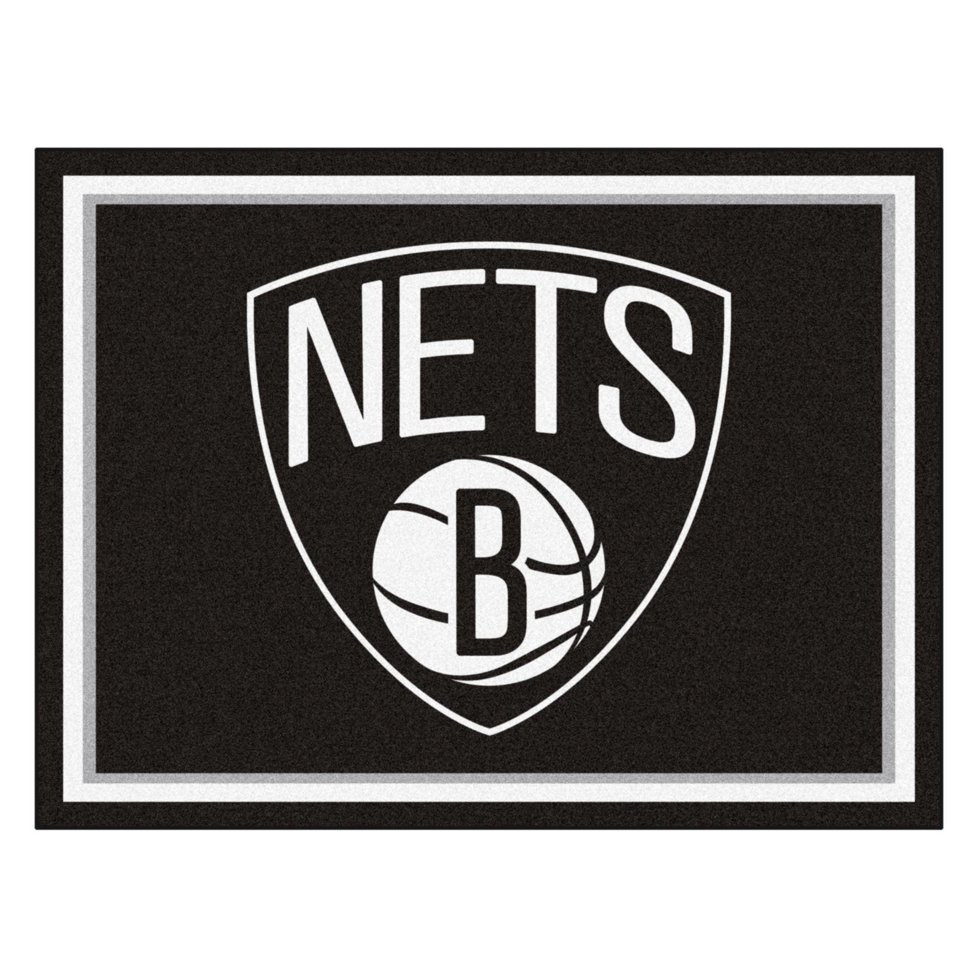 NBA Brooklyn Nets 8 x 10 Foot Plush Non-Skid Area Rug