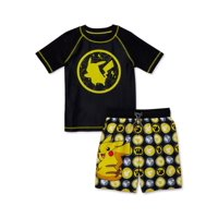 Pokémon Boys 4-7 UPF 50+ Short Sleeve Rash Guard Swim Shirt & Swim Trunks, 2-Piece Set