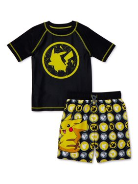 Pokmon Boys 4-7 UPF 50+ Short Sleeve Rash Guard Swim Shirt & Swim Trunks, 2-Piece Set