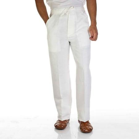 Linen blend drawstring pants for men. SIZE:2X COLOR:WH Cubavera Linen Pants