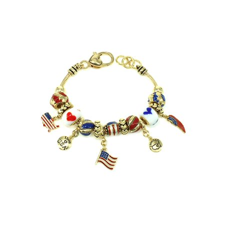 Patriotic Beaded Bracelet (Gold Tone USA Patriotic Cute Girls Bead Charm 7.5