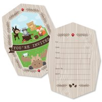 Woodland Creatures - Shaped Fill-In Invitations - Baby Shower or Birthday Party Invitation Cards with Envelopes - 12 Ct