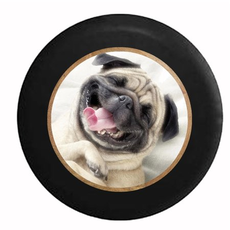 Jeep Spare Tire Cover - Smiling Pug Dog Cute Pet Jeep RV Camper Spare Tire Cover Black 29 in