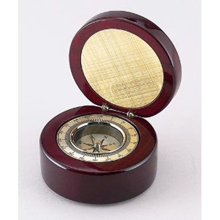 ROUND WOOD BOX W/ COMPASS & ENG. PLATE.